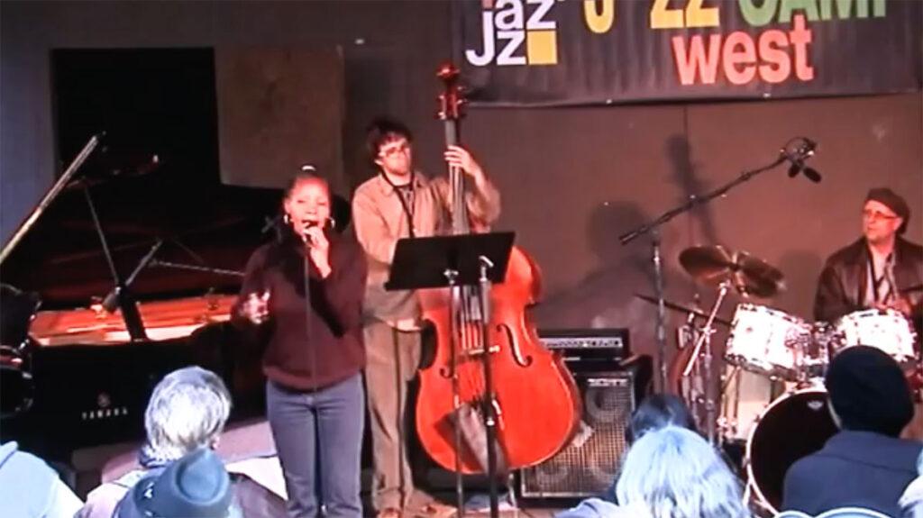jazz camp west performance, sabrina singing on stage, audience seated2