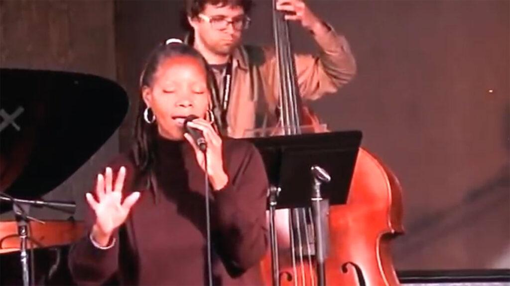 jazz camp west performance, sabrina singing on stage, audience seated3